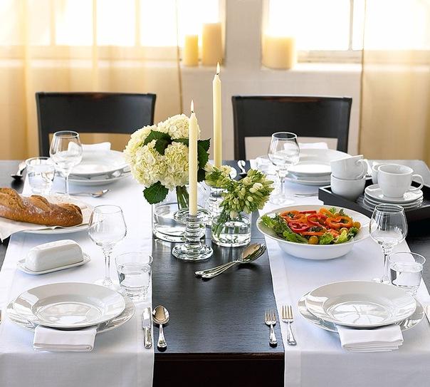 сервировка стола цветами