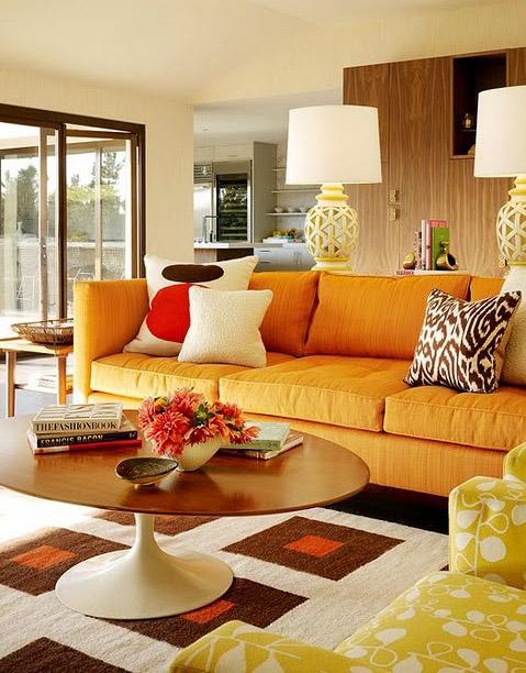 Оранжевый цвет в оформлении дома