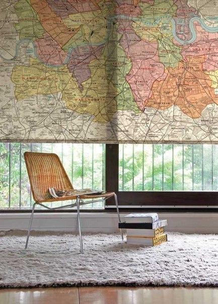 Карта мира в интерьере фото 2