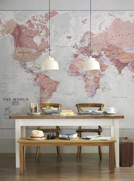Карта мира в интерьере фото 5