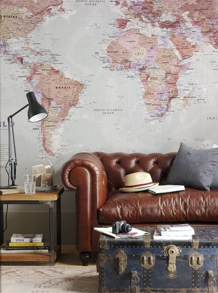 Карта мира в интерьере фото 14