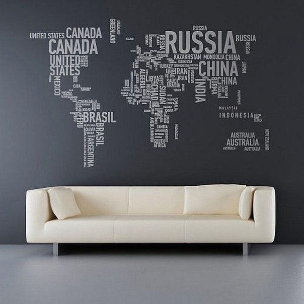 Карта мира в интерьере фото 24