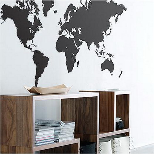 Карта мира в интерьере фото 33