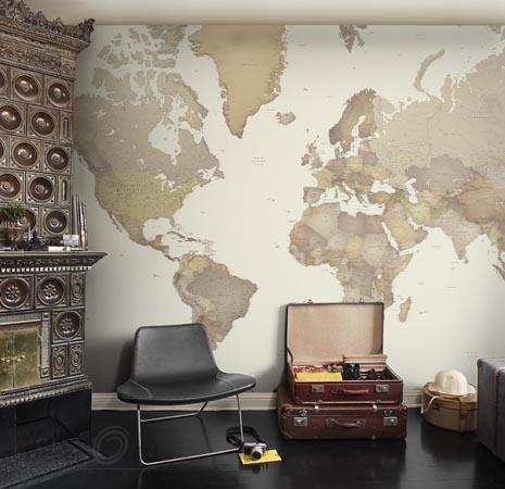 Карта мира в интерьере фото 35