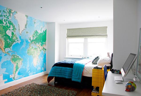 Карта мира в интерьере фото 36