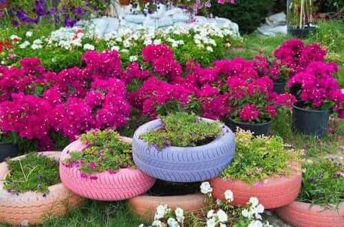 Flower beds of tires photo 44