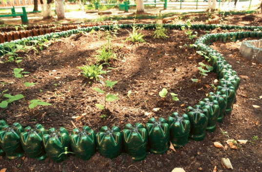 Crafts from plastic bottles for the garden photos 2