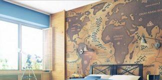 карта мира в интерьере фото 02