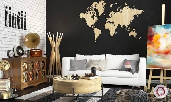 карта мира в интерьере фото 04