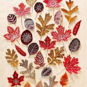 поделки из листьев фото 053