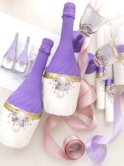 dekor-butylok-word-of-decor-020 Декор свадебных бутылок шампанского, своими руками