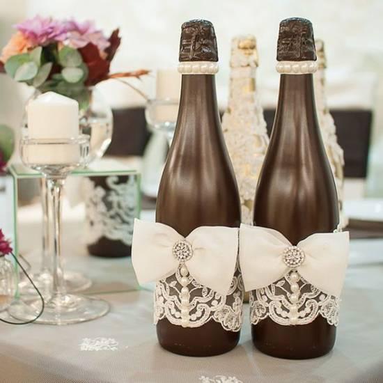 svadebnye-butylki-word-of-decor-072 Украшение шампанского на свадьбу - Pion-decor