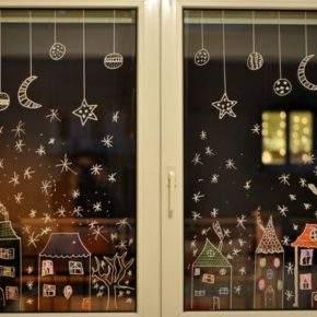 как украсить окно на новый год фото 38