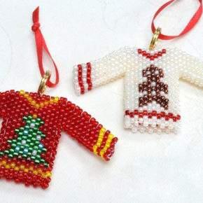 новогодние игрушки из бисера фото 002