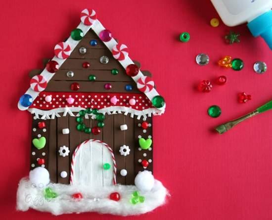 новогодний домик поделка фото 93